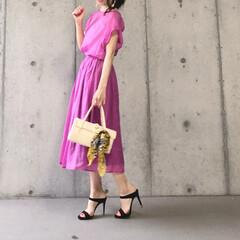 オトナ女子/コーデ/スカートコーデ/今日のコーデ/セットアップ/ファッション lialapg さんのお洋服♪ モーヴ色…