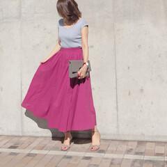 スカートコーデ/今日のコーデ/夏コーデ/ファッション 210nouve さんのマキシスカート♡…