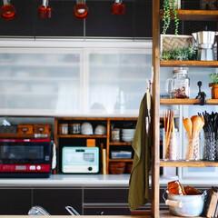 インテリア/DIY/雑貨/100均/セリア/キッチン/... リビングから見たキッチン。 キッチンに立…(1枚目)