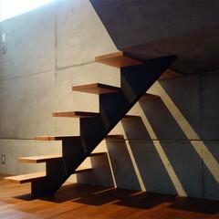 音楽室/階段/半地下/木製階段/コンクリート 半地下の音楽室へは、7段の階段を降ります…