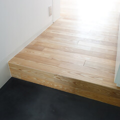 左官/モルタル/床/土間/タモ/フローリング/... 玄関土間は黒いモルタルの左官。 床はタモ…