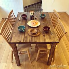 テーブル/ダイニングテーブル/DIY/キッチン/キッチン雑貨/インテリア/... ♡︎ダイニングテーブルを作りました!♡︎…