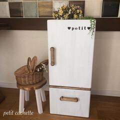 おままごと/おままごと冷蔵庫/おままごとキッチン/DIY/収納/雑貨/... ❤︎おままごと冷蔵庫を作りました!♡︎ …