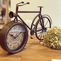 レトロ/アンティーク/置時計/雑貨/インテリア/住まい ❃︎レトロな置時計❃︎ 自転車をモチーフ…