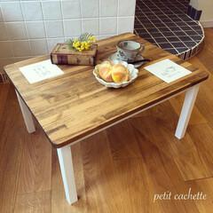 輸入タイル/テーブル/ローテーブル/DIY/インテリア/家具/... ❃︎輸入タイルをはめ込んだローテーブル❃…