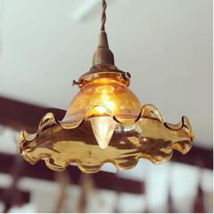 ガラスシェード/シェードランプ/照明/照明器具/雑貨/住まい/... ෆ̈オシャレなガラスシェード ペンダント…