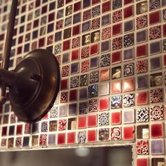 タイル/手洗い場/洗面所/モザイクタイル/インテリア/住まい/... ☆モザイクタイル☆ 手洗い場のタイルです…