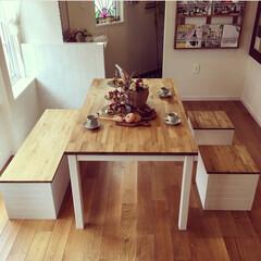 ダイニングセット/ダイニングテーブル/DIY/雑貨/インテリア/家具/... ❁︎ダイニングセット作りました!❁︎ お…