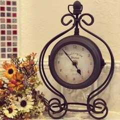 両面時計/時計/アンティーク/置時計/雑貨/インテリア/... ❀︎アンティークな両面置時計❀︎ アイア…