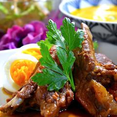 献立/大根サラダ/カボチャスープ/スペアリブ/フォロー大歓迎 今夜の夕飯です^ ^  家族の好きなスペ…
