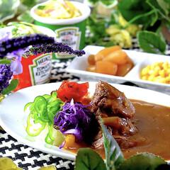 スパゲティーサラダ/ビーフカレー/食材整理/無水/おうちごはん こんばんは^ ^  早いもので、お盆も最…