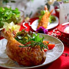 野菜チャウダー/エビフライ/シーザーサラダ/チキンオーブン焼き/クリスマス2019/フォロー大歓迎 皆様メリークリスマス🎄^ ^  今日も帰…(1枚目)