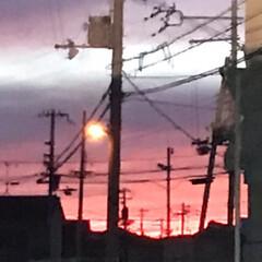 赤やけ/夕焼け/風景 今日の空  先日と同様な赤い夕方 先日の…