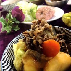 サラダ/salad/明宝ハム/献立/肉じゃが/わたしのごはん/... 今夜の夕飯です^ ^   昨日、明宝ハム…