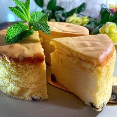 リミアな暮らし/おうちカフェ/手作りおやつ/レーズン入り/おやつ/チーズケーキ こんばんは^ ^  昨日焼いたチーズケー…