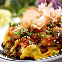 お好み焼き/夕飯/関西風 今夜の夕飯です^ ^ キャベツが沢山ある…