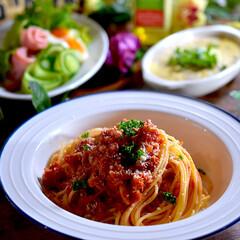 ハムサラダ/山芋グラタン/リミアな暮らし/ツナトマトスパゲティー こんばんは^ ^  昨日から降り続く雨で…