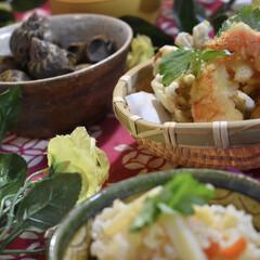天ぷら/バイ貝煮付け/たけのこごはん/フード/グルメ/わたしのごはん 今夜の夕飯です^ ^  先日頂いたタケノ…