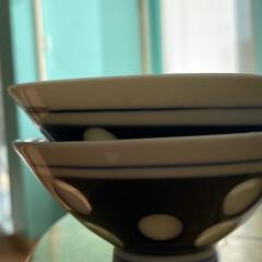 ペア/茶碗/水玉/フォロー大歓迎 懐かしの可愛いお茶碗^ ^ 水玉模様の懐…