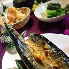 献立/わたしのごはん/グルメ/フード 今夜の夕飯です^ ^  今夜は秋刀魚の開…