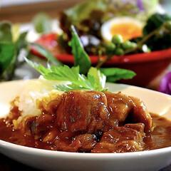 ビーフゴロゴロ/野菜サラダ/カレー/フォロー大歓迎 今夜の夕飯です^ ^  今日の1日はバタ…