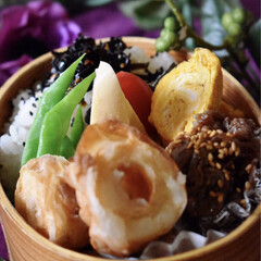 天ぷら/お弁当/米粉/LIMIAごはんクラブ/おうちごはんクラブ 今日のお弁当です^ ^  久しぶりに竹輪…