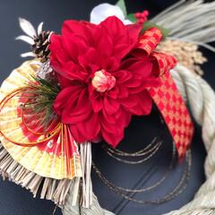 玄関/ハンドメイド/お正月/しめ飾り/風水的/ラッキーカラー/... ワークショップで習った✨Flower・扇…