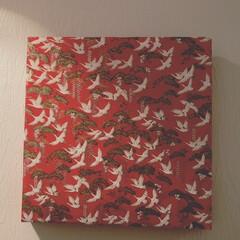 お正月インテリア/お正月飾り キャンパスアートを千代紙でラッピングして…(1枚目)