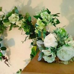 造花/夏インテリア/セリア/ハンドメイド 大好きな白とグリーンのコーナーを作りまし…