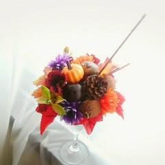 木の実/ダイソー/ハンドメイド/造花 秋のパフェ召し上がってください🍁🎵