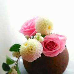花器/生花 まんまるダリアとバラ