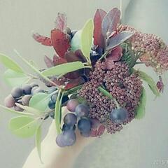 紫陽花/シャリンバイ/ブーケ/生花 紫陽花が好きです。秋の額紫陽花とシャリン…
