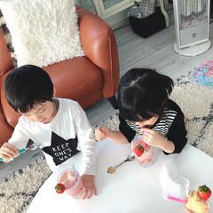 HOLMEGAARD/IKEAのグラス/手作りおやつ/海外インテリア/いちごバナナスムージー/子どもと暮らす/... 今日のおやつ。 いちごバナナスムージー。…(2枚目)