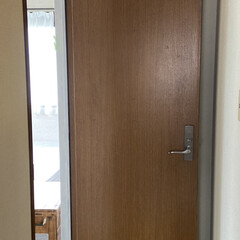アイアンペイント アイアンブラック(その他塗料、塗装剤)を使ったクチコミ「少し前のDIYの話。 寝室のドアをペイン…」(3枚目)