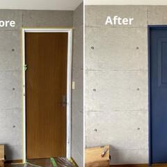 アイアンペイント アイアンブラック(その他塗料、塗装剤)を使ったクチコミ「少し前のDIYの話。 寝室のドアをペイン…」(1枚目)