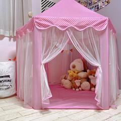 テント キッズテント ボールハウス 子供用テント 子供部屋 室内 室外子供用遊具 小さな星ライト が付き(ボールペン)を使ったクチコミ「リカちゃんがずーっと広げっぱなしだった …」
