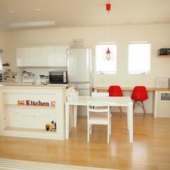 あけおめ/お気に入り/キッチン/家具/住まい/建築/... キッチンのとなりのスタディースペースがお…(1枚目)