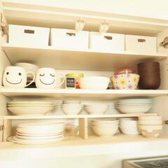 防災/100均/ダイソー/キッチン/収納 食器棚の下にひいてあるのは、ダイソーの滑…