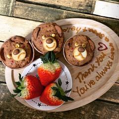 スイーツ作り/クマ/チョコマフィン/バレンタインデー/ハンドメイド/バレンタイン2020 旦那さんへのバレンタインは日頃の感謝を伝…