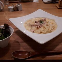 カルボナーラ/うどん/フード/グルメ/おでかけ 寒い日はうどんが食べたい❗ そんなわけで…