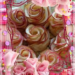 アップルパイ/スイーツ/ハンドメイド リンゴを薄くスライスし、バラの花びらにし…