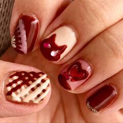 チョコネコネイル/猫ネイル/セルフネイル/紗々ネイル/チョコレートネイル/バレンタインネイル/... バレンタインも近いので、自爪にバレンタイ…
