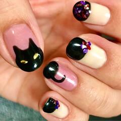 猫族neko-zoku/黒猫ネイル/猫好き/セルフネイル/HOMEI/猫/... 大好きなにゃんこをモチーフに💕 今回は黒…