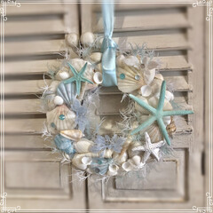 リース/貝がら/雑貨/LIMIA手作りし隊/ハンドメイド/暮らし/... 夏らしい🏝リースを 部屋に飾りたくて 何…