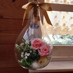 窓枠DIY/ソープフラワー/フェイクグリーン/エアープランツ/ハンギングガラスポット エアープランツ育てるために買った、ガラス…