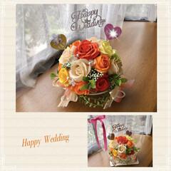 プレゼント/お祝い/ソープフラワー/ダイソー/セリア/雑貨/... 娘の20年来のお友達への 結婚のお祝いの…