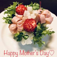 お家ごはん/ブーケ/ポテトサラダ/母の日 ブーケサラダを見て作ってみたいなぁ〜と思…