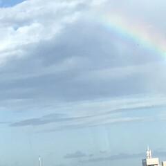 ブルー 晴れてるのに虹が出てました。