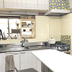 富士ホーロー ビームス オールインワン27cm スノコ付 ホワイト・レッド・ネイビー IH対応 ホーロー 両手鍋 | 富士ホーロー(両手鍋)を使ったクチコミ「古いキッチンをリメイクしてみました。 吊…」