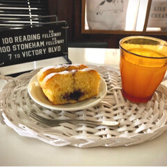 今日のおやつ/お菓子作り/ブルーベリー/牛乳パック/パウンドケーキ ブルーベリーのパウンドケーキを焼きました…